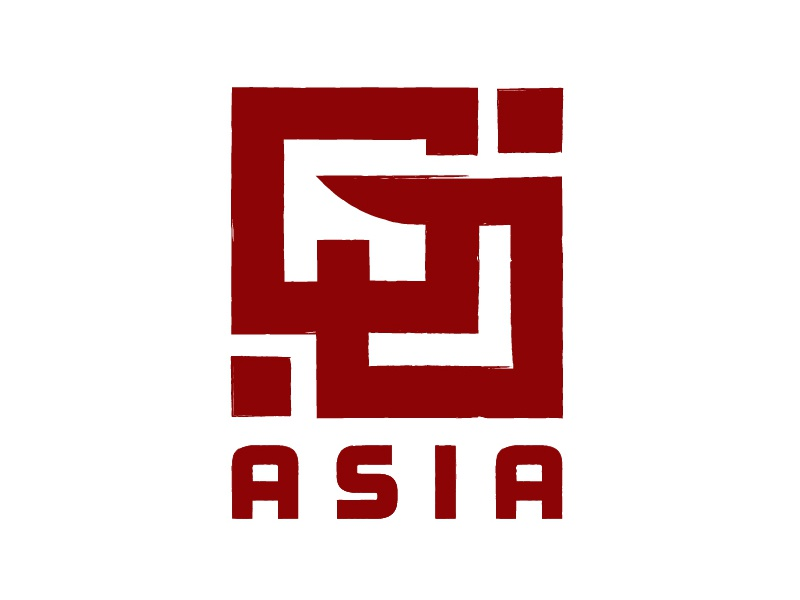 GoAsia Logo Design branding mark frosted plastic red asia icon business card design logo
