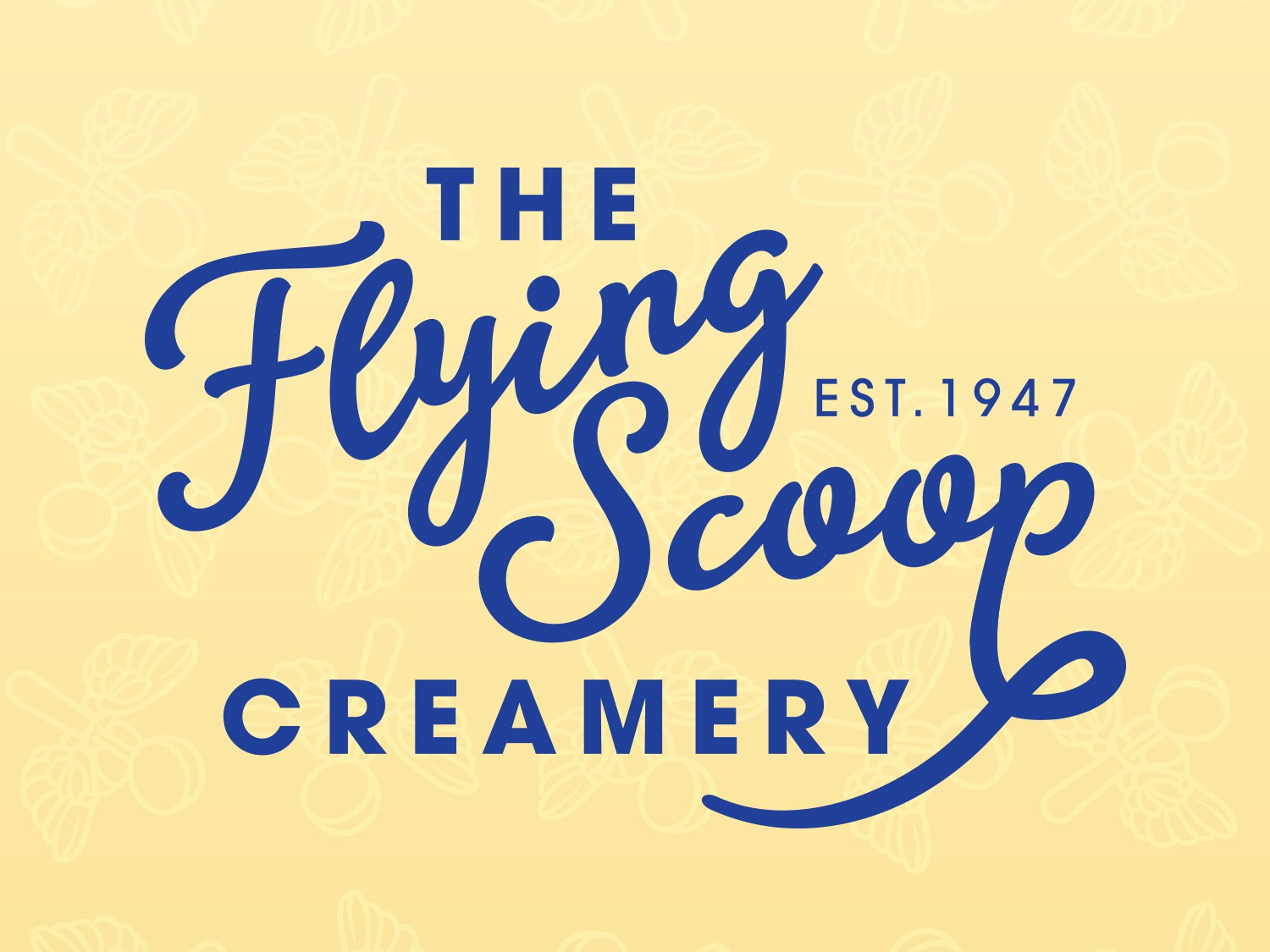 The Flying Scoop Creamery vector illustration creative business graphic design brand identity icon logo design mark branding typography business card design logo
