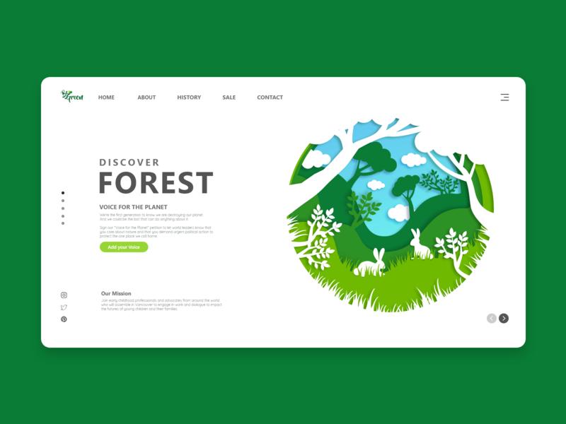 Discover Forest minimal landing page design landing page landing page design nature event information event forest discover nature