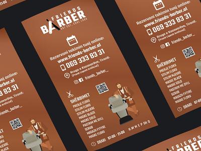Friends Barber  flyer print illustration vector flyer branding
