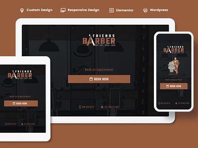 Website Design  and Development for Friends Barber custom design wordpress elementor branding figma mobile design responsive website development webdesign