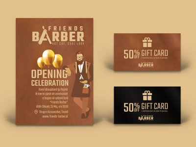 Friends Barber Card Invitation & Gift Card custom design vector design print barbershop illustration branding invitation card invitation