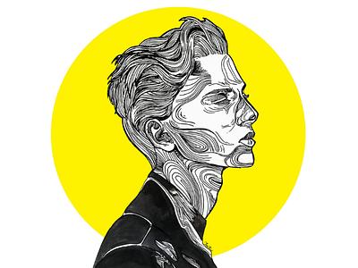 Graphic portrait art monochrome lines line art graphic art men portrait portrait fashionart