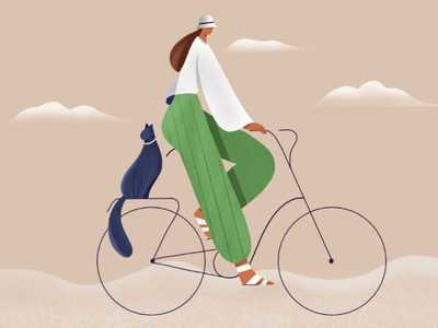Cycling female 2D illustration procreate art procreate cycling website banner grain illustration fashion illustration 2d