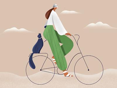 Cycling female 2D illustration procreate art procreate cycling website banner grain illustration fashion illustration 2d