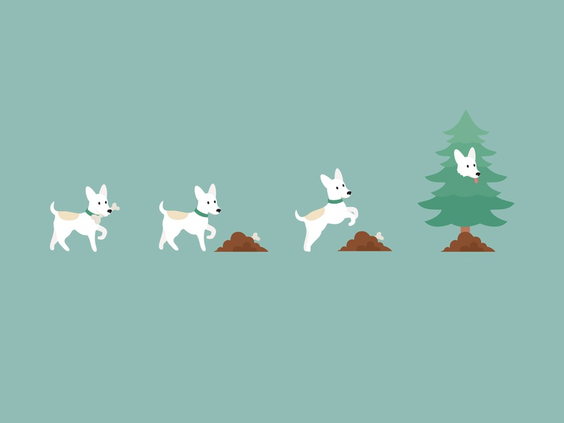 tentree Climate+ 'Offset Your Dog' by planting trees digital art animal characterdesign frames animation illustrator minimal flat vector illustration