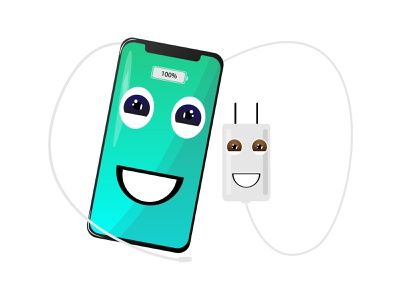 with you i'm fully charged 😍❤ full charge charger phone illustration design illustrator
