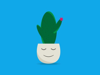sleepy cactus illustration illustrator blue sleepy cactus