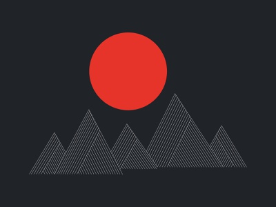 white line mountain illustrator illustraion sun red black white mountain minimal
