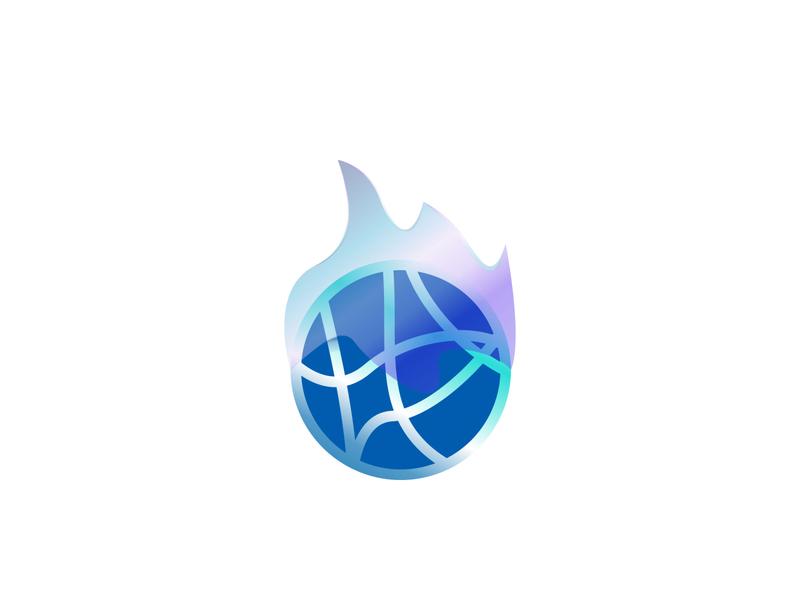 Blue Fire Ball soccer ball basketball sport gradients exploration abstract design logo gradient fire blue flame
