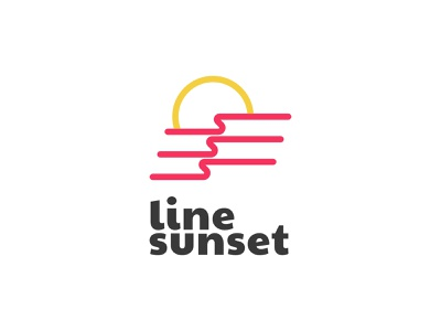 Sunset line bright travel sunset panorama beautiful modern branding app logo exploration abstract identity brand company flat pink wave sea sun
