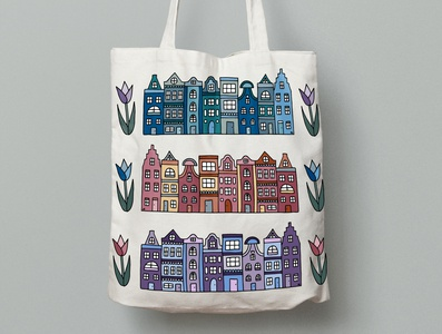 Amsterdam Houses and Tulips Tote Bag tulips colorful city illustration drawing mockup city tote bag dutch holland amsterdam