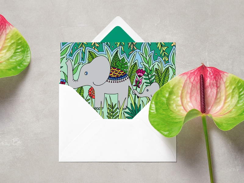 Elephant Mom and Baby Card home decor floral design elephants baby botanical print card jungle tropical stationery illustration drawing elephant