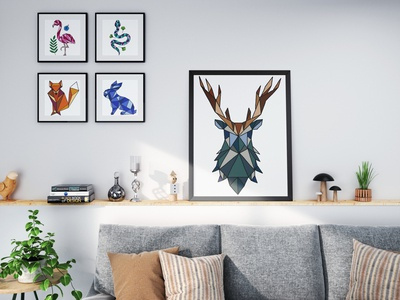 Geometric Animals Print Collection design home decor prints wall art elk deer woodland creatures rabbit fox snake flamingo illustration drawing geometric animals geometric illustration geometric art geometric
