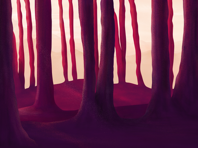 """Wander without purpose or reason..."" conceptual environment textured illustration purple landscape forest trees photoshop illustration digital painting digital"
