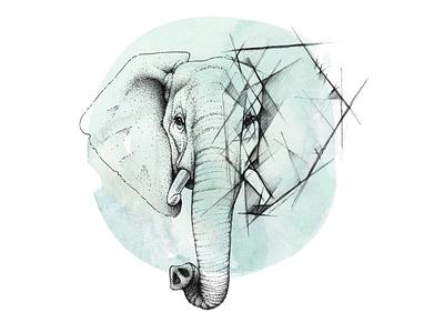 Geometric elephant sketch photoshop endangered species tusks elephants portrait blue aqua pen drawing pen art pen and ink animals pointillism dotwork geometric sketch watercolor elephant animal illustration