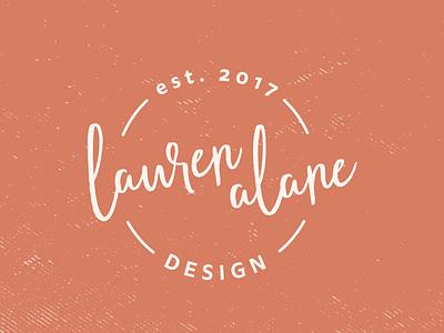 Lauren Alane Design logo graphic designer graphic design custom logo signature brush cursive rustic texture logo design typography est. 2017 rust orange branding design orange logo circle logo script logo designer personal branding