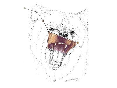 Ursa Major / The Big Dipper constellation great bear digital painting teeth growling bear drawing stars constellation big dipper ursa major bear pen drawing digital art animal illustration animal art photoshop art