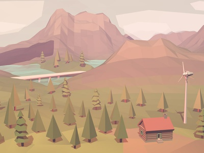Offgrid Dreams lowpoly 3d illustration windmill offgrid nature mountain clouds forest low poly
