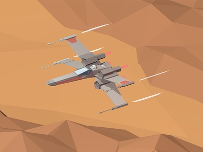 X-Wing over Tatooine 3d tatooine starwars low poly xwing