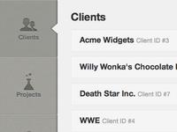 UI prototype for a client management app I'm building