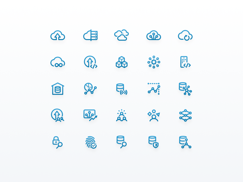 Technology Icon Set iconset iconography ui line tech product icons