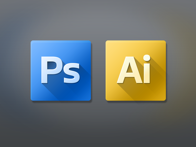 Replacement Icons for Photoshop & Illustrator adobe photoshop illustrator cs6 icon mac blue yellow shadow app icns