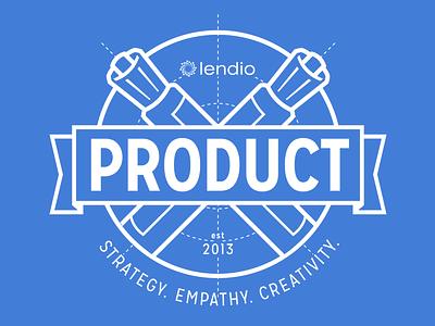 Lendio Product Team T-Shirts blue white screen print t-shirt brand mark product lendio banner blueprint marker