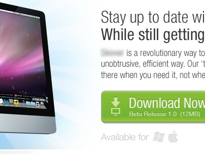 Website for New Mac App download green button imac landing page mac app social media