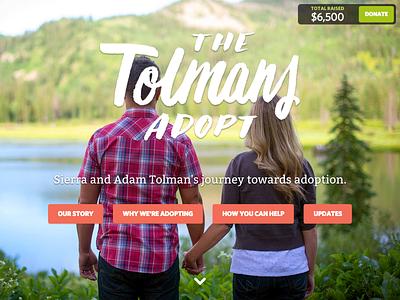 The Tolmans Adopt Website fundraising adoption responsive web