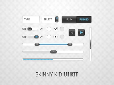 Skinny Kid UI Kit ui kit kit ui user interface ui elements button progress scrollbar radio checkbox form field spinner