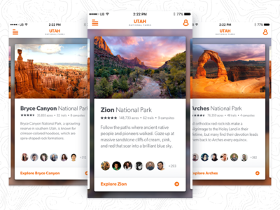 Utah National Parks App Idea gibson orange photography outdoors card mobile app ux ui national parks utah