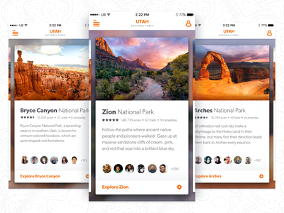 Utah National Parks App Idea gibson orange photography outdoors card mobile app ux ui national parks utah