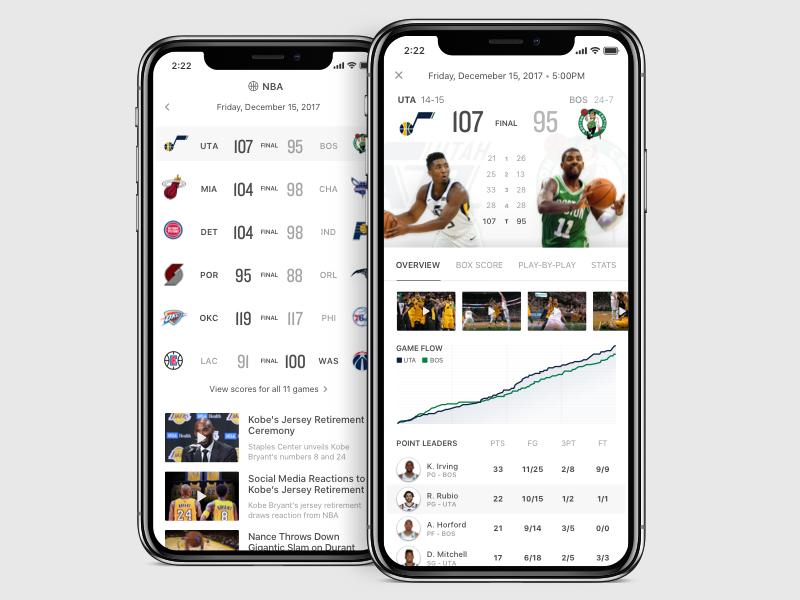 Sports App Explorations ux ui scores boston celtics utah jazz iphone x ios app basketball nba sports