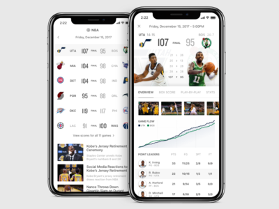 Sports App Explorations ux ui scores boston celtics utah jazz iphone x ios app basketball nba sports