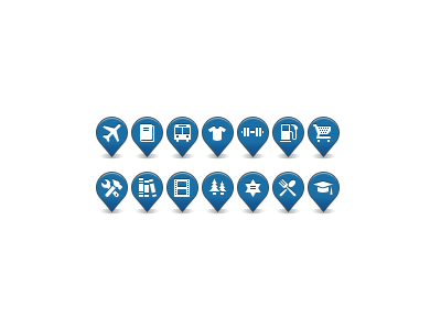 Location Pins for Web App map pins map pins blue icons web app