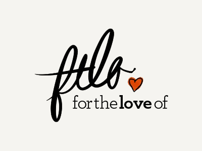 For the Love Of landing page logo red tan heart archer paper script