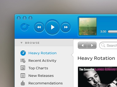 Rdio Mac App Redesign rdio app rdio mac app app redesign buttons blue interface ui