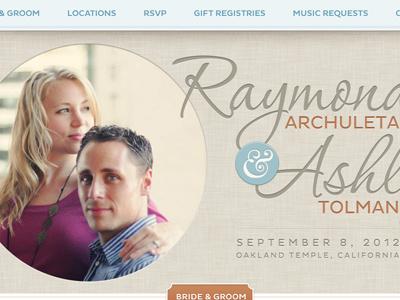 Wedding Website wedding scroller fixed nav website typography pluto sans corinthia ampersand beach blue orange tan texture