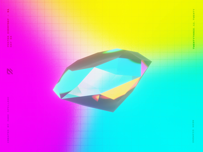 Neon Diamond - Animated Poster poster colourful bright crystal glass animated gradient refraction reflective vibrant color vibrant diamond generative floating abstract blender 3d design illustration