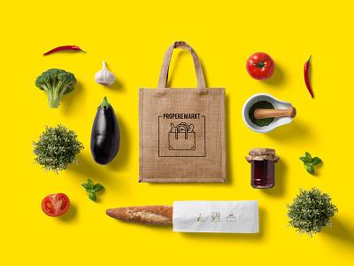 Logo for Marche Propre / Propere Markt fruits vegetables market reusable bag bread bottle line sustainable bag eco veggies logo