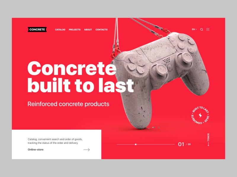 Concrete - Website concept product design typogaphy 3d web app user experience user interface c4d figma design concept clean ux ui gamepad dualshock playstation sony concrete