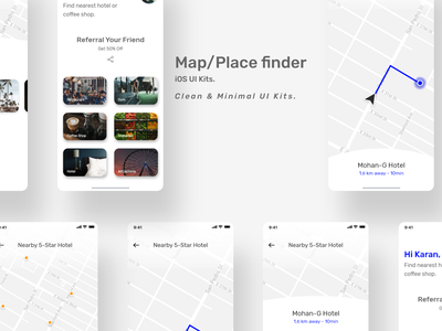Map/Place finder - iOS UI Kits direction location search results hotel finder hotel mapping iphone principle uiux ui house find finder search place finder map