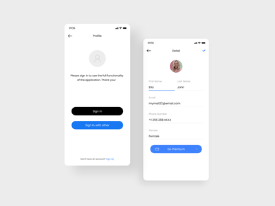 User Sign in & Profile Screen ux ui settings profile page authenticate form registration log in setting user experience user interface profile user