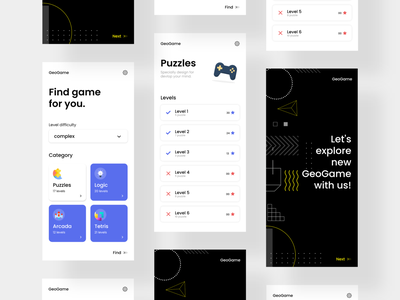 Geo Game/Mind Game - UI Concept onboard tetris arcade logic puzzle online game concept ux ui user experience user interface mobile app design app design apps app trendy game games game app game ui