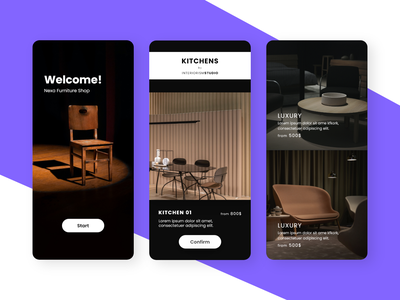 Furniture Shop - iOS UI Kits ios ui mobile app craft shopping appliances home kitchen interior chair ecommerce furniture store shop product