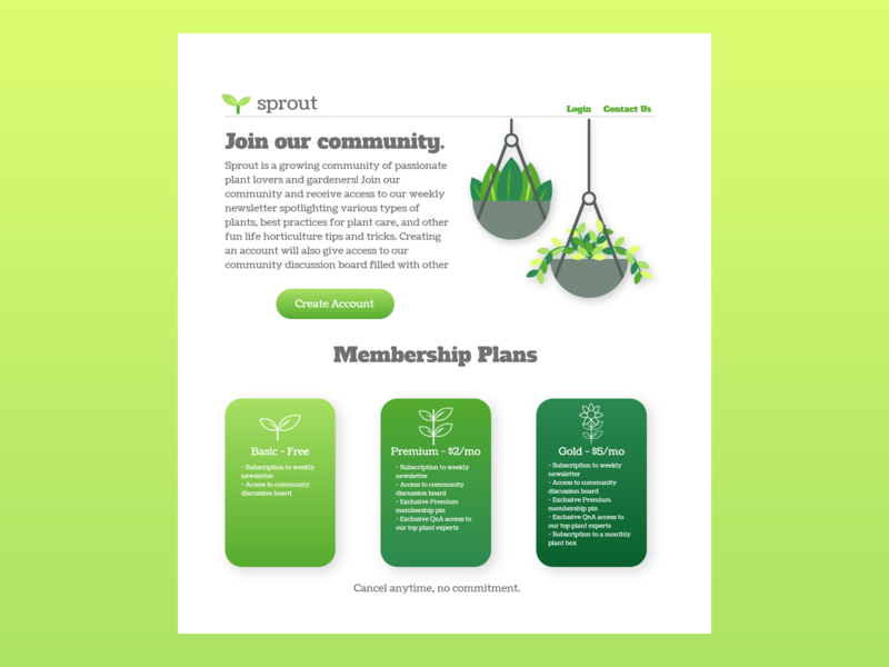 04 - Sprout Landing Page plant horticulture vector web ui ux design dailyui daily100challenge