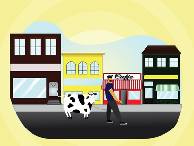 Eid-Al-Adha/ covid19/ cafe editorial logodesign road walking village city illustration city branding cowboys cow illustrator vector creative illustration yellow covid19 eid eidmubarak