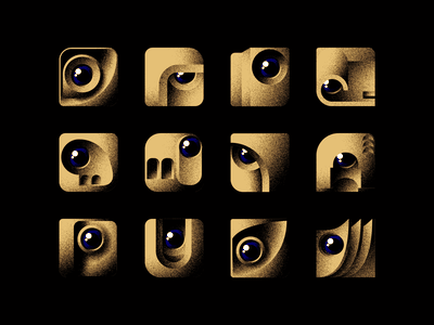 Brutalist Monsters Avatar Set eyes noise sand monsters icon set avatar set avatar brutalist brutalism