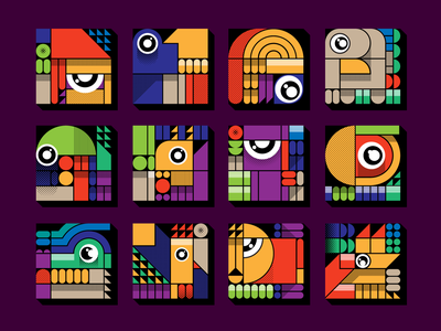 Blocky Animals Icon / Avatar set avatar set avatar icon set icon fox chiken crocodile parrot baboon squirrel peacock dog turkey elephant lion zoo animals geometric blocky